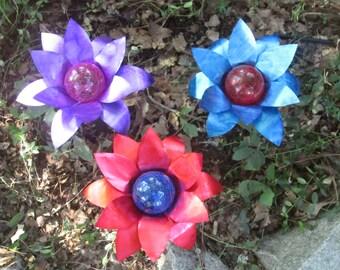 Set of 3 (Purple, Blue and Red) Aluminum Flower Walkway or Garden  Solar Light