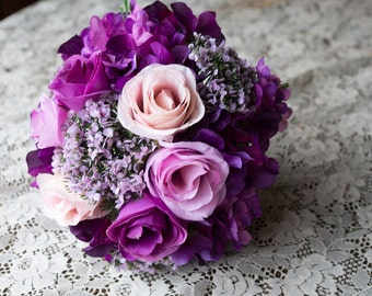 Purple, Peach and Pink Wedding Bouquet. Roses and Hydrangea with Filler