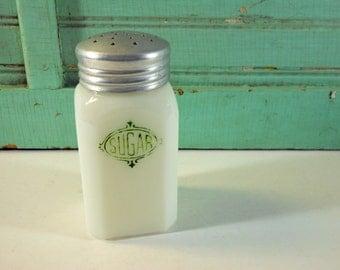 Vintage Hazel Atlas Milk Glass Sugar Shaker with Green Letters
