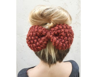 SALE - Extra Large Knit Bow Clip in Rust, knitted bow on clip