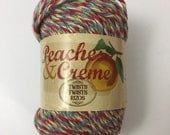 Yarn Peaches & Creme Twists Cotton 2.0 Ounce Oz Colonial Blue Red Green Ombre Crafts Dishcloth Cream