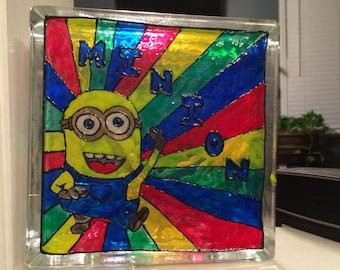 Minion Stain Glass Art Block