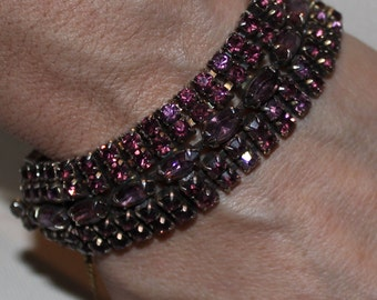 Bracelet  Purple Rhinestones Goldtone Metal