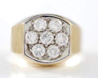 Men's, 14k, Yellow, Gold, Vintage, Estate, Diamond, Cluster, Ring
