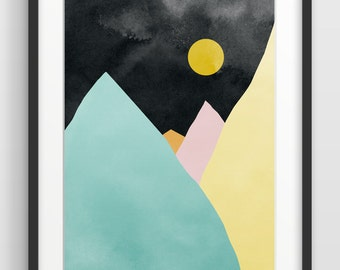 Mountains Large Wall Art, Geometric Print, Modern Abstract Watercolor Art Print, Minimalist Art, Oversized Art