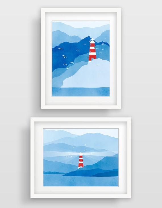 large art set nautical decor lighthouse art nautical