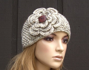 Knit Head Wrap Headband Earwarmer Oatmeal Tweed Winter with Crochet Flower and Wood Buttons