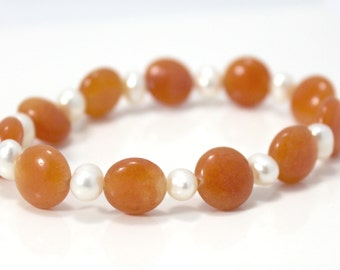 Freshwater Pearl and Tangerine Orange Jade Beaded Bracelet--CLEARANCE