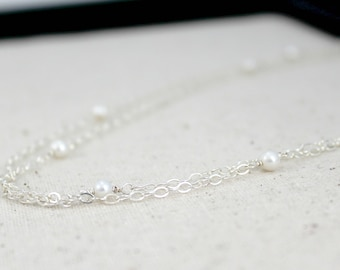 Long Double Strand Freshwater Pearl and Sterling Silver Necklace / Summer Wedding - Bridal / Long Necklace / Pearl Statement Necklace