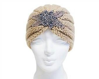 Beige Beaded Knit Turban
