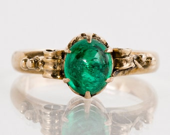 Antique Ring - Emerald Ring - Antique Victorian 15k Rose Gold Cabochon Cut Emerald Ring