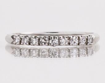 Antique Wedding Band - Antique 1930's Platinum Diamond Wedding Band