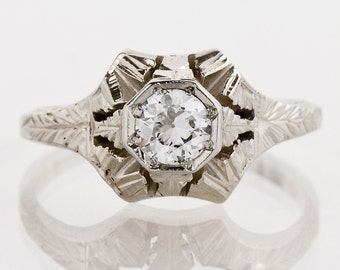 Antique Engagement Ring - Antique Art Deco 14k White Gold Diamond Engagement Ring