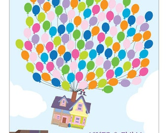 Personalised Wedding Guest Book Alternative - Colourful Flying Up House Guestbook Poster - Canvas or Paper - Free Gift with Purchase