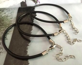 7-9 inch Bracelet---10pcs 7-9 inch adjustable 3mm black rubber bracelet cords