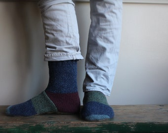 Men's Felted Wool Slippers/Cottage Socks with Leather Sole, Men's Slippers