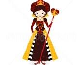 Clipart - Red Queen / Queen of Hearts - Digital Clip Art (Instant Download)