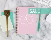 """SALE! 2016 Weekly Planner """"Pink Personalized Initial"""" with monthly spreads, back pocket, stickers, adhesive tabs and more"""