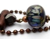 Earrings, Cellestial, Navy Blue Glass, Copper Earrings, Pyrite earrings,  Glass dangle earrings