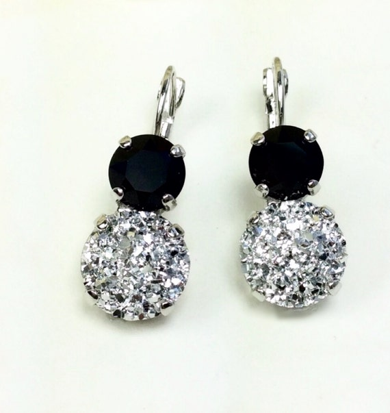 Swarovski Crystal 12MM/8.5mm Drop Earrings - White (Faux) Druzy with Jet OR Black (Faux) Druzy with Crystal    Classic Drama - FREE SHIPPING