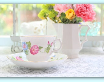 Vintage, English Fine Bone China Tea Cup and Saucer by Crownford, Morning Glory Pattern, Gifts for Her, Replacement China