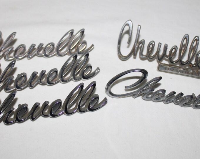 Five Vintage 1969-70s Chevrolet Chevelle Car Badges, Emblems, Original