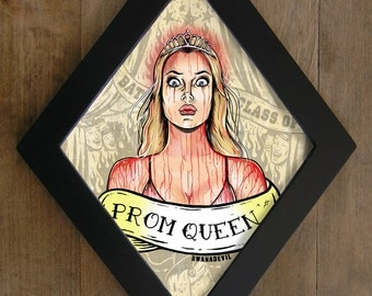 Carrie, Prom Queen diamond framed print.