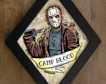 Jason Voorhees from Friday the 13th. Camp Blood Diamond framed print.