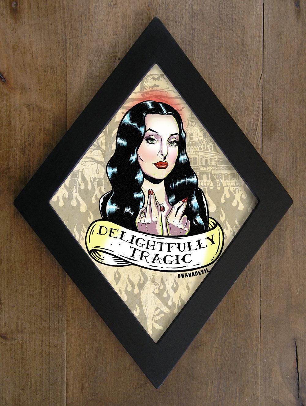 Morticia Addams Carolyn Jones Diamond Framed Print