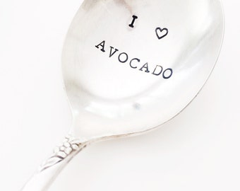 "vintage ""I heart avocado"" hand stamped spoon"