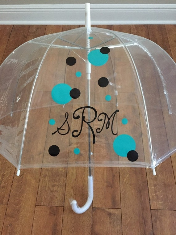 Personalized Clear Dome Umbrella Adult Size Monogrammed Bubble Umbrella