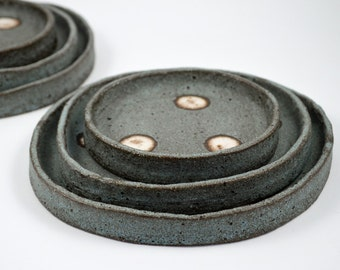 Set of Three Rustic Dots Plates - Ceramic Tapas Plates - Pottery Plates