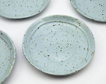 Large Side Plate - Pottery Plate - Ceramic Plate - Side Plate - Speckled Plate - Ice Blue