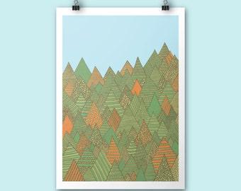 Autumn Forest / A4 print / Autumn poster print / Art print / Illustration / Contemporary art / Nursery art / children room decor