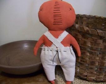 Primitive Pumpkin Man Fabric Decor/Doll/Shelf Sitter Fall Decoration