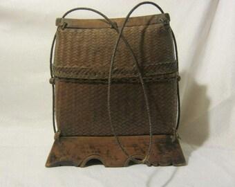 Vintage Sasak Rattan  Basket Purse from Lombok Island Indonesia
