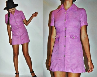 SHOP IS AWAY 1960s / 1970s Magenta Purple Mod Mega Mini Dress