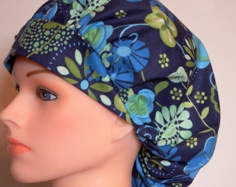 Navy and Green Print Bouffant Surgical Hat