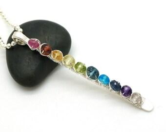 Multi color gemstone pendant - Rainbow pendant - Pendant with tourmaline, Garnet, Lemon quartz, Peridot, London blue Topaz, Apatite