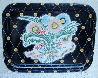 Vintage PEPSI COLA Advertising Metal TRAY- 1940s Serving with Pretty Pastel Graphics on a Black Ground