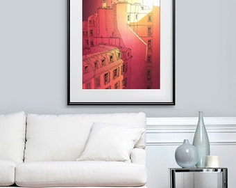 SALE: Sundawn  - Large size Paris print - Paris illustration Art illustration Giclee print Poster Houses Home decor Wall decor Orange Red