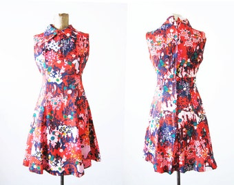 60s dress / 60s floral mini dress / sleeveless multicolor pink mod dress