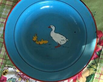 Vintage German Children's Dinner Plate, Enamelware, 1940's, Blue, Mother Goose