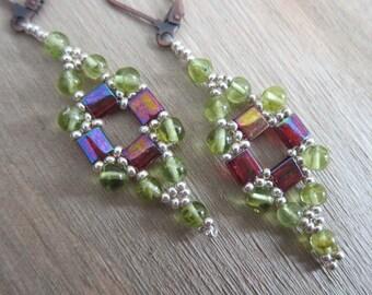 Tila Squared Earrings - Handmade (by me) using Natural Peridot and Miyuki (Japanese) Glass Beads