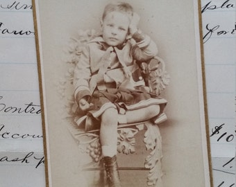 Striking Authentic Victorian Boy Cabinet Card Photo