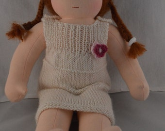 Knitted doll dress, fits 14 to 16 inch Waldorf style doll