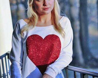 Red Glitter Heart Sweatshirt