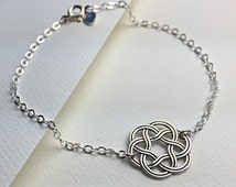 Sterling Silver Celtic Bracelet, Celtic Circle Bracelet. Round Celtic Bracelet. Celtic Sterling Jewelry
