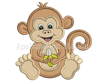 Zoo Baby Monkey Applique Machine Embroidery Design Jungle Safari Boy Girl Cute animal INSTANT DOWNLOAD