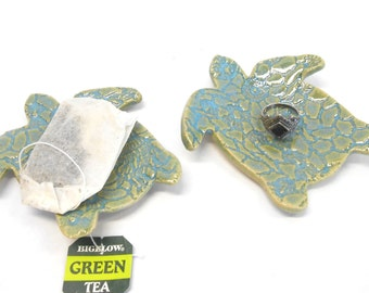 Turtle Teaspoon Rest Turtle Ring Dish Turtle Teabag Holder Teabag Rest Ceramic Ring Dish Pottery Ring Dish in Blue and Green